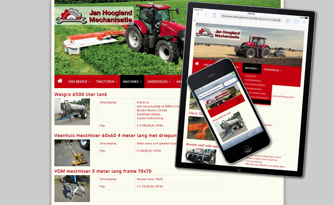 Website janhooglandmechanisatie.nl