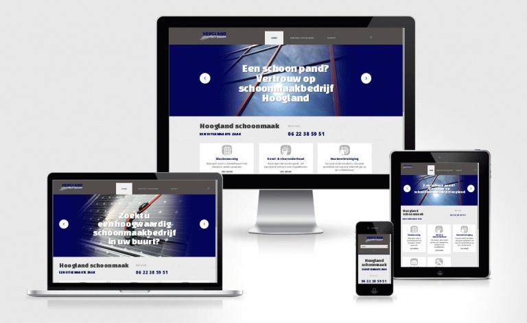 Foarbield website hooglandschoonmaak.nl